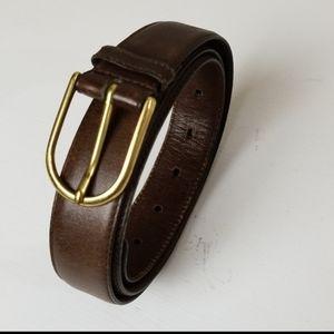 Men's leather belt brass buckle EUC